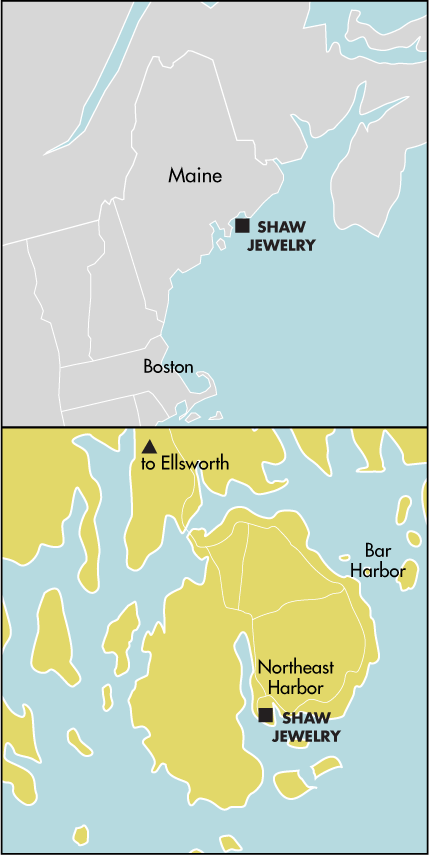 Northeast Harbor Maine Map.Shaw Contemporary Jewelry