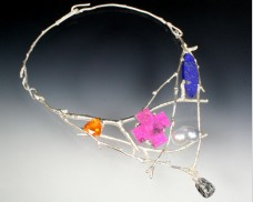 Sterling silver twig collar with mixed gemstones