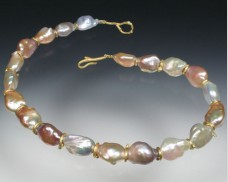 South Sea pearl necklace with 18K twig spacers