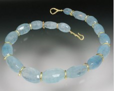 Aquamarine necklace with 18K twig spacers