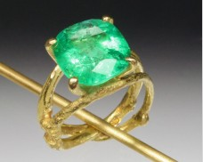Emerald twig ring
