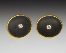 Basalt earrings with diamonds