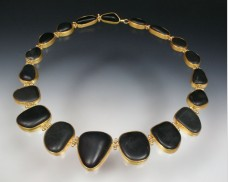 Bezel-set basalt necklace