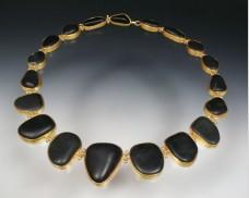 Bezel-set basalt necklace