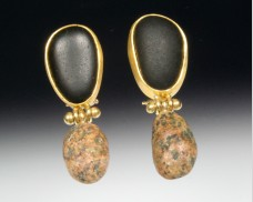 Hinged basalt & granite earrings