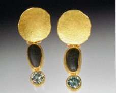 Disc earrings with basalt & diamond drop