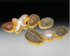 Granite & pearl brooch