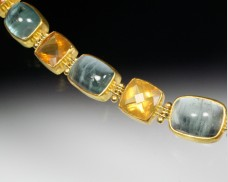Aquamarine and fire opal bracelet