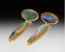 Hinged opal earrings
