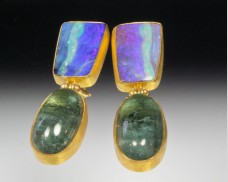 Opal & tourmaline earrings