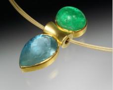 Emerald & aquamarine pendant
