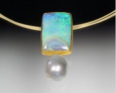 Opal & pearl pendant