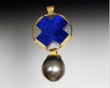 Small lapis X pendant with pearl