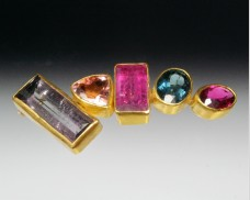 Mixed gemstone brooch