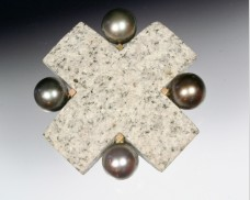 Granite cross brooch