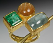 Triple gemstone ring