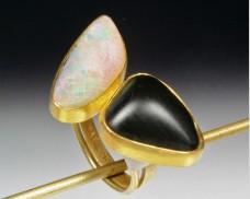 Basalt & opal ring