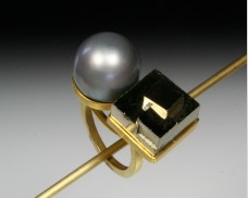 Pyrite & pearl ring