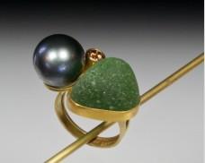 Seaglass & pearl ring