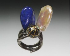 Pearl, Lapis and Diamond Sphere Ring