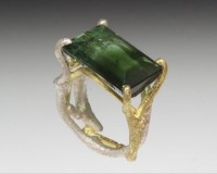 Fantastic green tourmaline with gradation of color from light to dark green. The twig ring is also b..