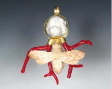 Girl, moth and coral	 pendant
