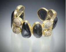 Black and brown beachstone cuff