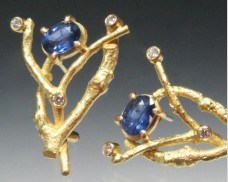 Sapphire and diamond twig earring