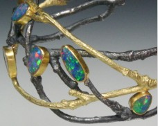 Opal and oxidized twig cuff
