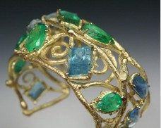 Emerald and aquamarine twig cuff