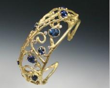 Sapphire and diamond twig cuff