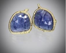 Gemstone twig wrap earrings