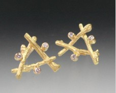 Triangle twig stud earring