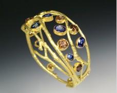 Cognac diamond & sapphire bracelet