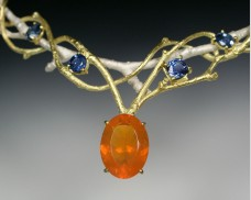 Twig necklace with sapphire & fire opal