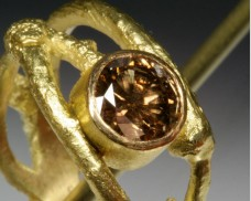 Cognac diamond twig ring