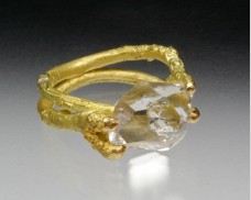 Herkimer diamond twig ring