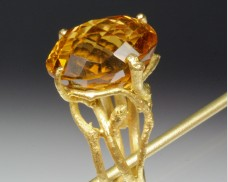 Twig ring with citrine