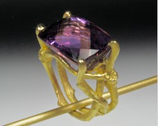 Twig ring with amethyst