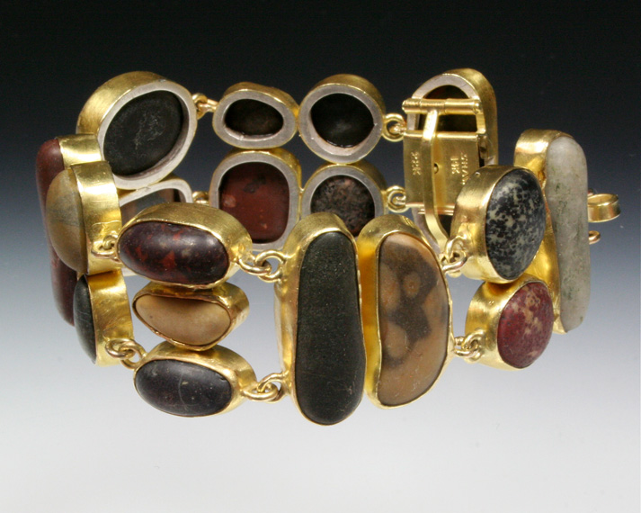 Wide beachstone bracelet