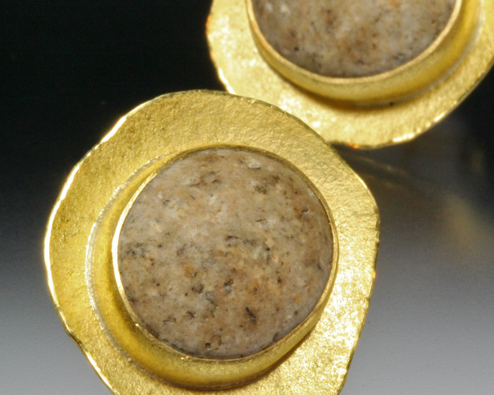 Concave beachstone disc earrings