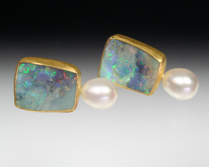 Opal & pearl earrings