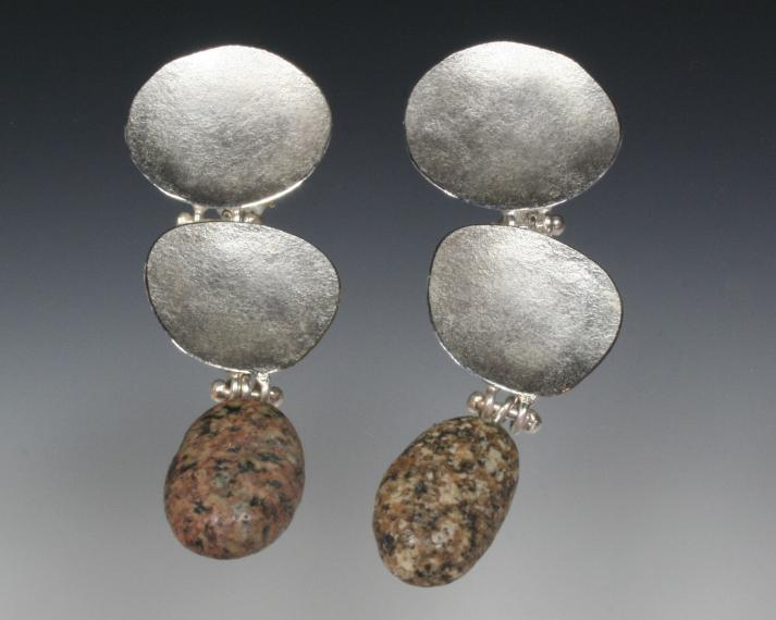Three piece disc and stone earring