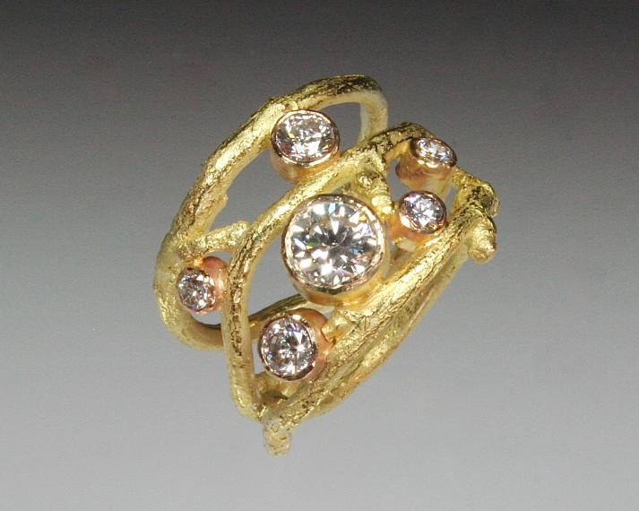Diamond twig wrap ring
