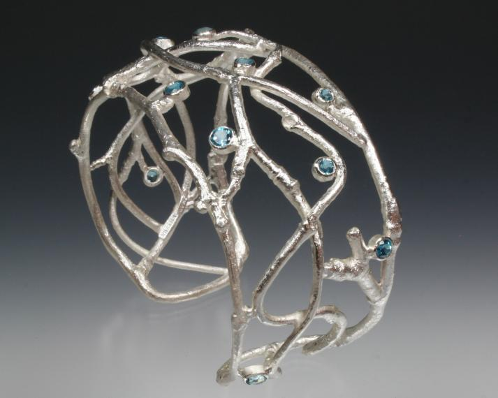 Sterling and aquamarine twig cuff