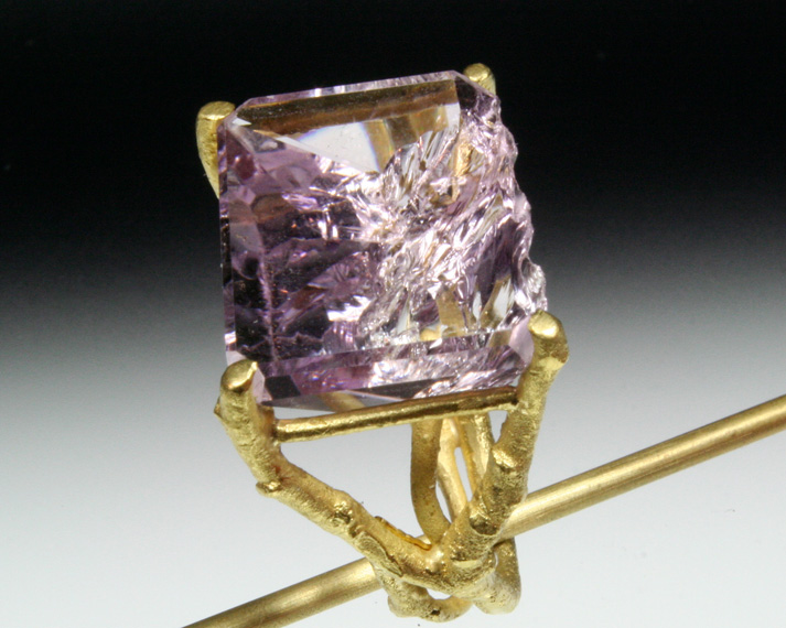 Natural amethyst twig ring